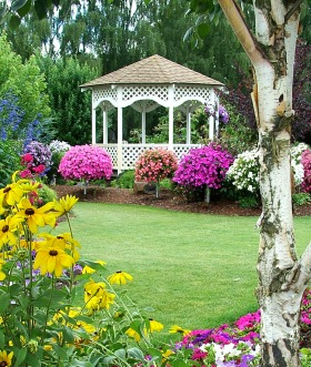 Beautiful floral gardens with gazebo