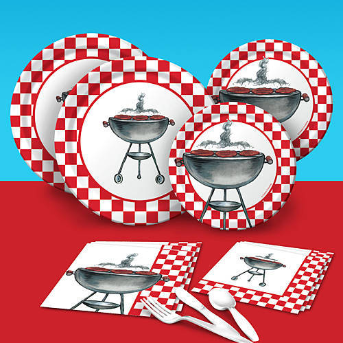 Red and white checked barbecue party pack kit with paper plates, napkins, table cover, and utensils