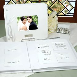 Guests can leave their best wishes for the couple on note cards  provided. They are inserted into envelopes, and put in this guest book.