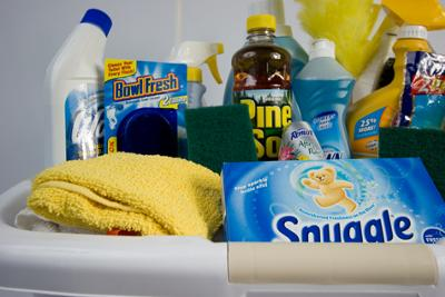 Bridal Shower Game Gift Ideas on Cleaning Supply Basket