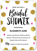 Contemporary bridal shower invitation with  gold dot design.