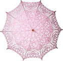 Pink lace parasol bridal shower decoration