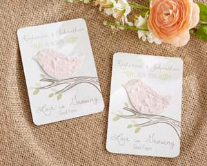 Love bird seed cards for a spring bridal shower favor