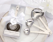 Heart shaped measuring spoons for a bridal shower.