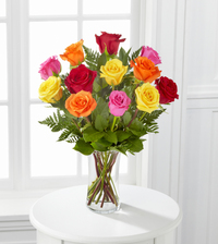 mixed colored bouquet of roses