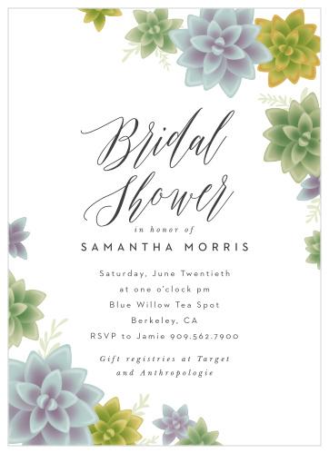 Purple and white bridal shower invitation.