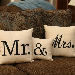 Set of 3 linen pillpows with the words Mr. & Mrs.