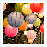 colorful paper lanterns are beautiful bridal shower decorations