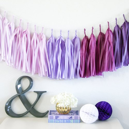 Paper tassel party garland inassorted colors.