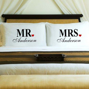 Set of 2 personalized couples pillowcases that fits standard and queen sized pillows.