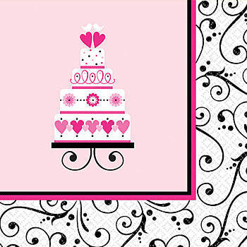 Black, white, and pink napkins with cake in the center, for a bridal shower.