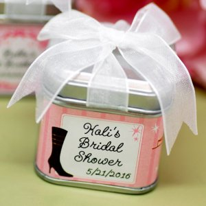 Pink bridal shower favor tin box