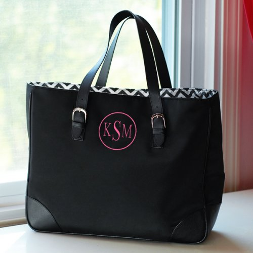 Personalized black tote bag.