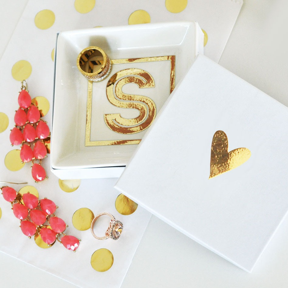 Personalize this white ceramic ring dish with the bride's initial in gold vinyl for a special bridal shower gift.