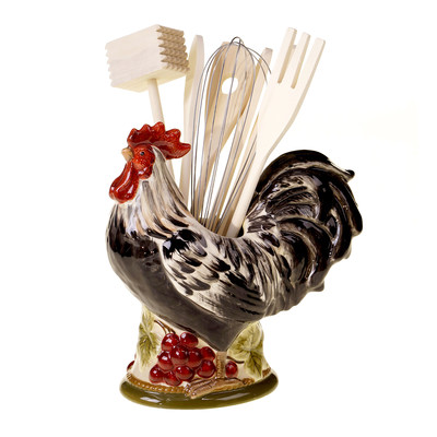 Tuscan style rooster kitchen utensil holder