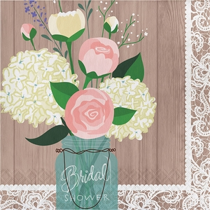 An old-school mason jar filled with flowers, gives this napkin design it's rustic appeal.