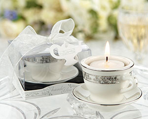 Porcelain teacup tealight holder with silver design