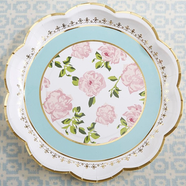 Pink, green, white, and gold floral design paper plates. These are 9