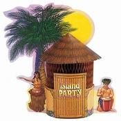 Tiki hut centerpiece for a luau party.