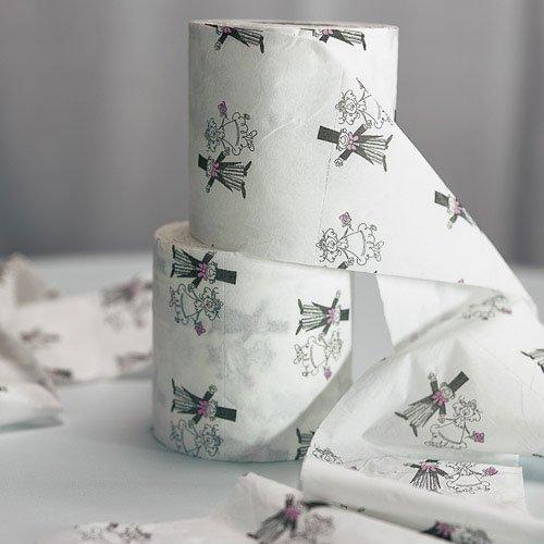 Toilet paper rolls for bridal shower dress game.