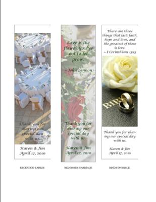 Wedding Favor Bookmarks