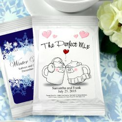 Personalized hot cocoa mix for a winter bridal shower theme favor.