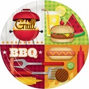 Barbecue party paper plates for your outdoor themed event.