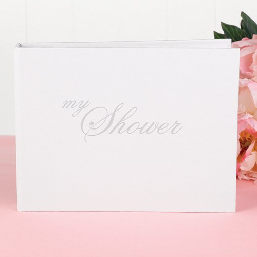 White bridal shower book where guests can sign and leave a message for the bride.