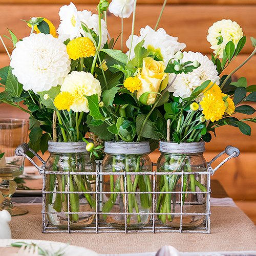 Use one or more of these Vintage Mason Jar Sets as your bridal shower centerpieces.