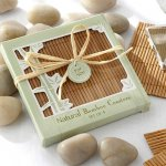 This set of four natural bamboo coasters is a practical gift your guests will enjoy.