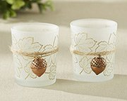 This fall bridal shower favor is a warm leaf designed votive holder with hanging acorn.