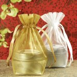 Easy gift wrapping for bridal shower favors and gifts with flat bottom organza bags with drawstring.