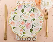 Pink, green, white, and gold floral design lates..9