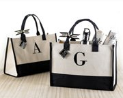 Personalized black and natural classic canvas tote bag.
