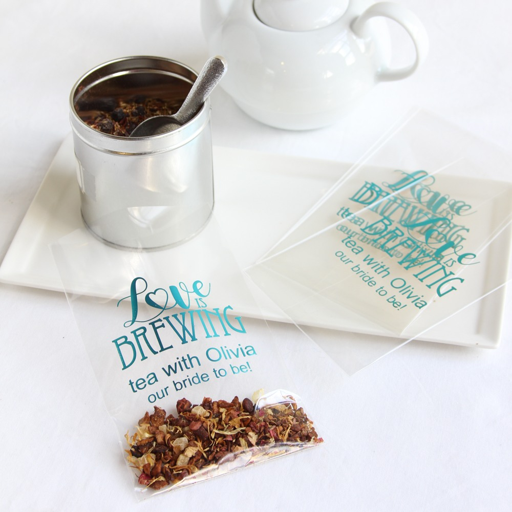 Add a personalized touch to your bridal shower favors with these cellophane bags. You pick the design, select the print color, choose the text, and then add your own gift.