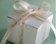 bridal shower gift with personalized ribbon